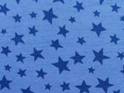 RESTSTÜCK 21 cm Jersey verschiedene Sterne, blau auf jeansblau