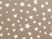 Jersey verschiedene Sterne, weiß auf beige