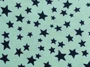 RESTSTÜCK 85cm Jersey verschiedene Sterne, navy auf mint
