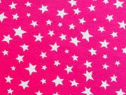RESTSTÜCK 86cm Jersey verschiedene Sterne, weiß auf pink