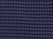Waffelpiqué Frottee Stoff, dunkelblau