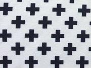 Jersey mit kleinen Kreuzen, schwarz auf weiss