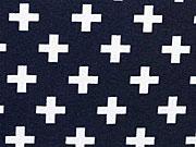 RESTSTÜCK 20 cm Jersey mit kleinen Kreuzen, weiss auf dunkelblau