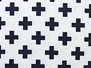 Jersey mit kleinen Kreuzen, dunkelblau auf weiss