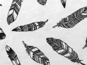 RESTSTÜCK 34 cm Jersey Federn, schwarz auf weiss