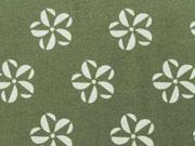 Jersey Rädchen Blumen, olivgrün