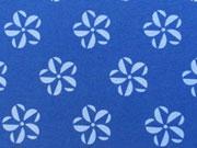 Jersey Rädchen Blume mittelblau