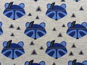 RESTSTÜCK 30 cm Jersey Waschbär mit Feder, blau