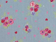 leichter Jeans Rosen Herzen, hellblau