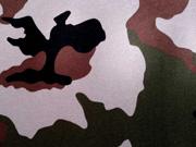 angerauter Sweatstoff Camouflage Army Muster, grün braun