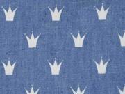 leichter Jeans weisse Kronen, dunkelblau