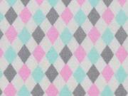 RESTSTÜCK 85 cm Baumwolle kleine Rauten, rosa/mint