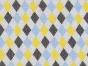 Baumwolle kleine Rauten, gelb/grau
