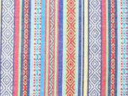 Mexiko Stoff Streifen Borten, blau bunt