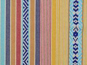 Dickerer Stoff Streifen Borten, gelb/hellblau