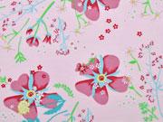 RESTSTÜCK 30 cm Jersey Blumen & Ranken, rosa