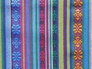 RESTSTÜCK 85 cm Mexiko Stoff Ethno Look Streifen & Borten, blau