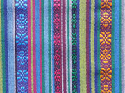 Mexiko Stoff Ethno Look Streifen & Borten, blau