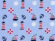 Baumwolle Boote Leuchttürme, hellblau