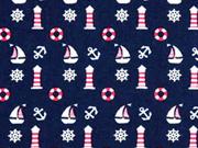 Baumwolle Boote Leuchttürme, dunkelblau