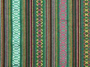 Mexiko Stoff Ethno Look Streifen & Borten, grün