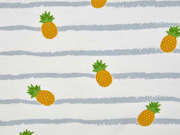 Jersey Streifen Ananas, weiß grau