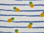 Jersey Streifen Ananas, weiß blau