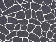 Baumwolle grafisches Muster Steine, dunkelgrau