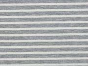 Jersey Streifen garngefärbt, hellgrau melange