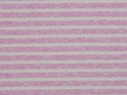 Jersey Streifen garngefärbt, rosa melange weiß