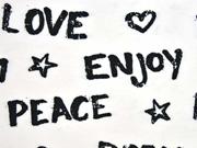 Jersey LOVE PEACE DREAM, schwarz weiss