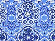 Baumwollsatin Stretch Ornamente, blau weiß