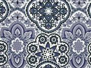 Baumwollsatin Stretch Ornamente, grau weiß
