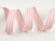 gestreiftes Ripsband 15 mm, creme rosa