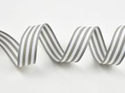 gestreiftes Ripsband 15 mm, weiss grau