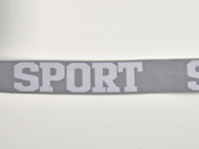 Gummiband Sport 32 mm breit, weiß grau