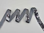 Paillettenband 20 mm breit, graumetallic