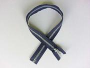 Reißverschluss 55 cm teilbar, dunkelblau-silber
