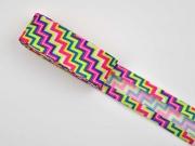 Schrägband ZickZack 2m-Stück, gelb/pink