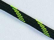 Kordel flach 1 cm, schwarz/neongrün