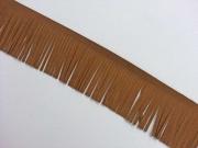 Fransenband Wildleder Optik 5 cm breit,mittelbraun
