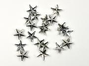20 Sterne Ziernieten zum Durchstecken, silber