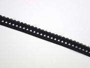 elastisches Band mit Rüschenrand 1.5 cm, schwarz
