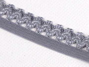 elastisches Band mit Rüschenrand 1.5 cm, grau