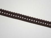 elastisches Band mit Rüschenrand 1.5 cm, braun