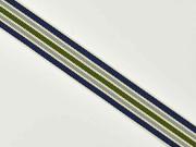 Ripsband Streifen 16 mm, navy grau grün