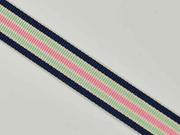 Ripsband Streifen 16 mm, navy mint rosa