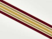 Ripsband Streifen 25 mm, bordeaux beige