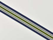 Ripsband Streifen 25 mm, navy grau grün