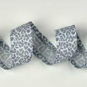 Schrägband Leoparden Muster Animal Print, hellgrau dunkelgrau